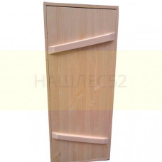 Деревянная дверь для бани, ласточкин хвост, 1,6м на 0.7м, липа