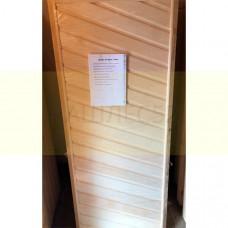 Деревянная дверь для бани, обшитая липой 1,7м на 0.6м